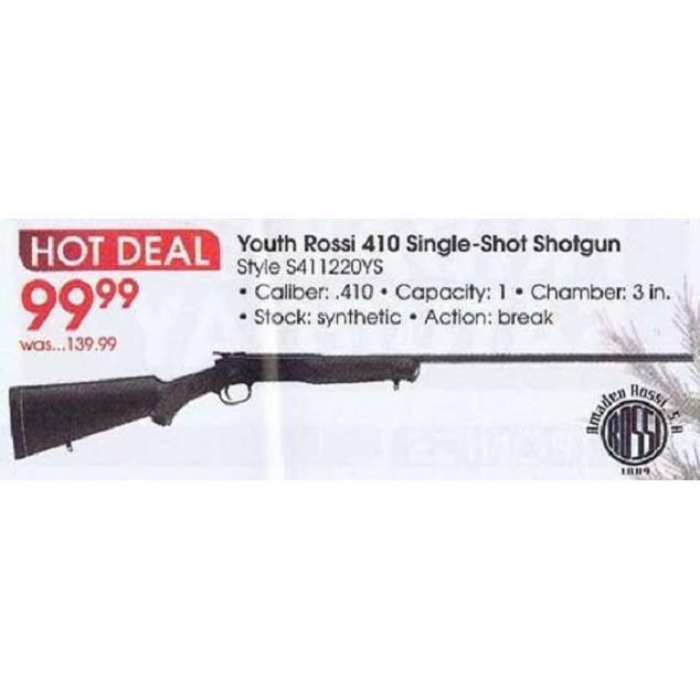 Youth Rossi  410 Single-Shot Shotgun - $99 99 (Valid on Black Friday 2013  in-store only) (Free S/H over $25)