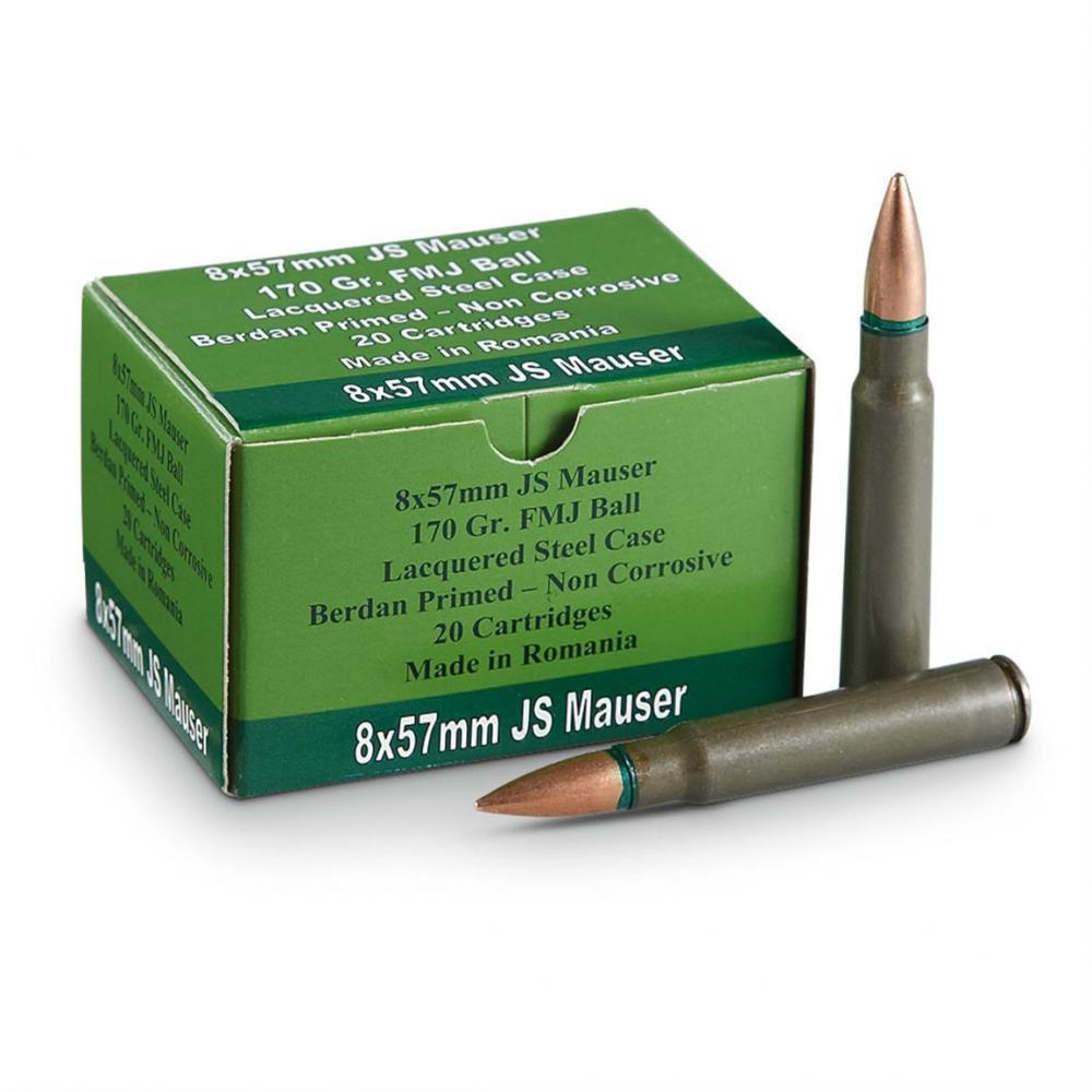 120 rds  8mm Mauser 8x57mm JS 170 Grain FMJ Ammo - $58 49