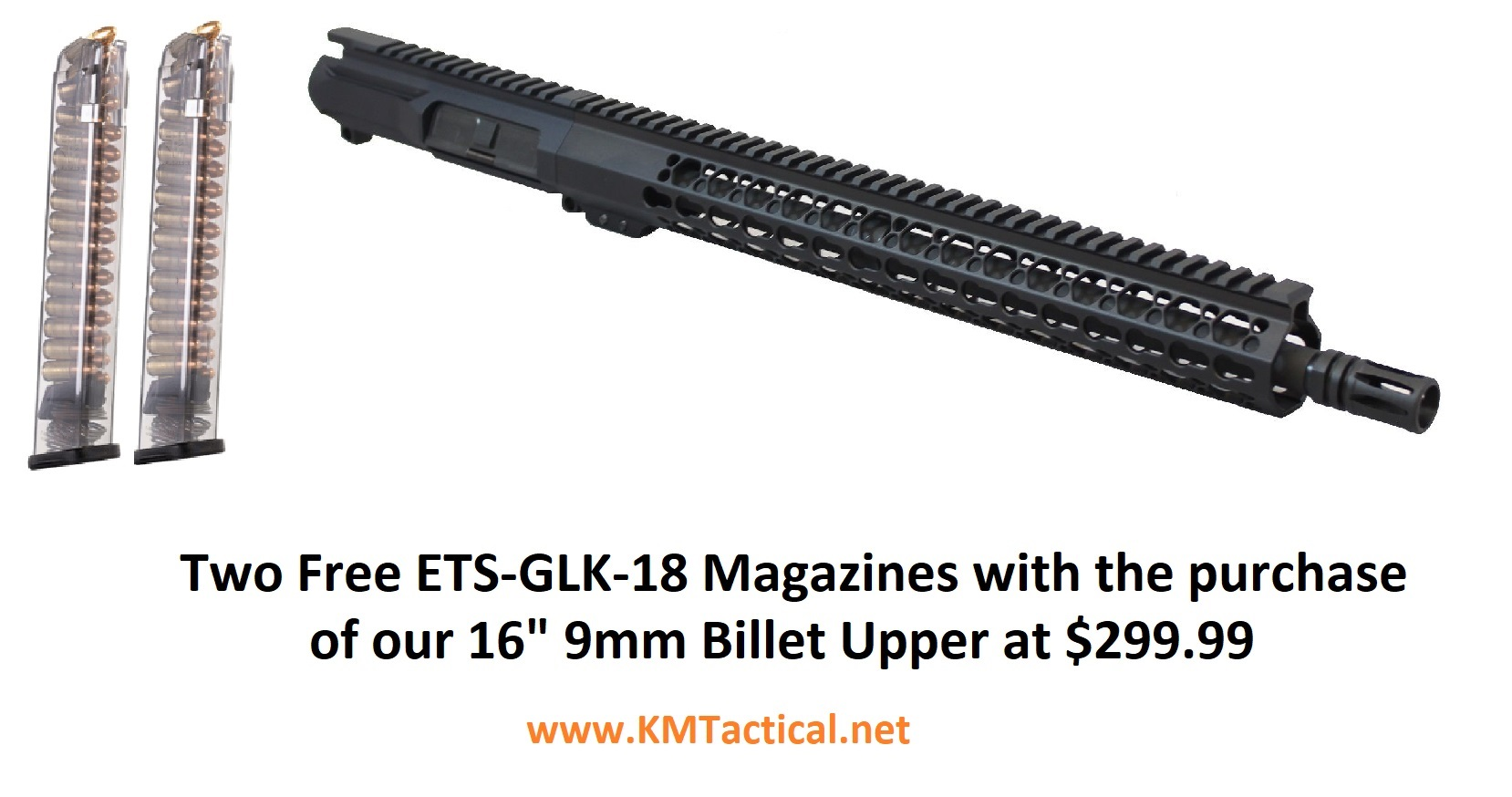 KM Tactical 16 Inch Billet 9MM Complete Upper w/ 2 Free ETS Glock Magazines  - $299 99