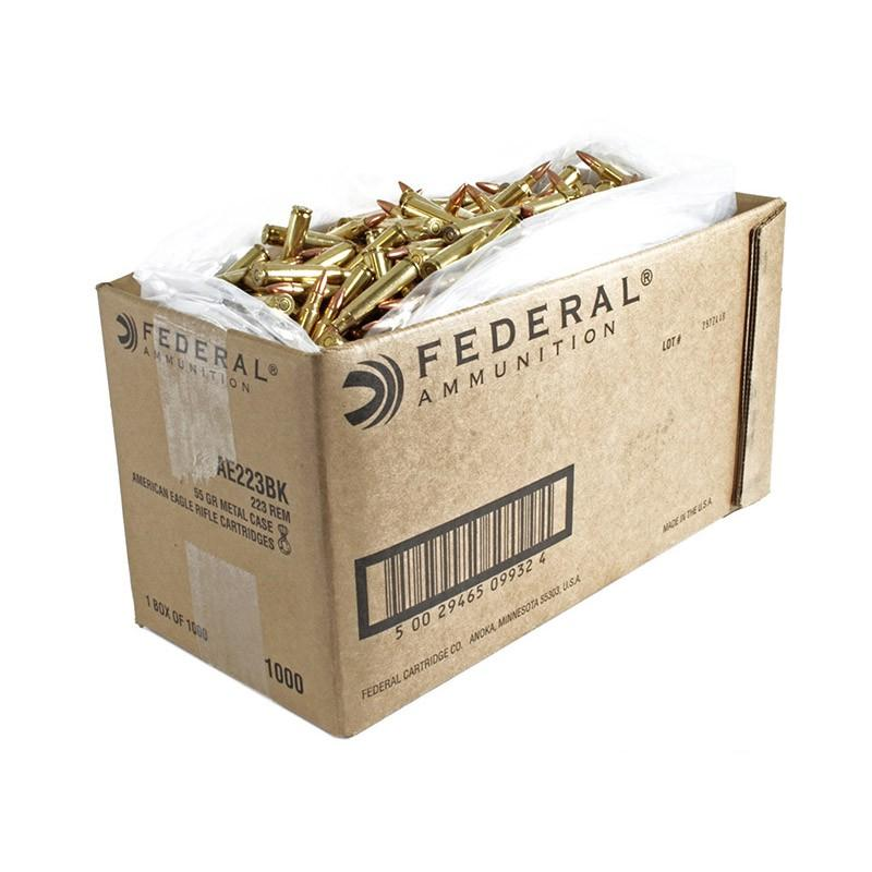 1000 Rounds Federal American Eagle 223 Remington Ammo 55 Grain FMJ  Bulk-FREE SHIPPING - $300