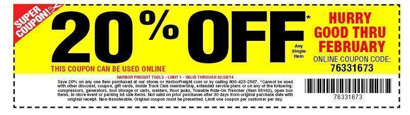 Coupon For Harbor Freight Tools 20 Off One Item Valid Online Or In