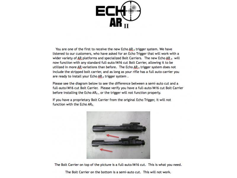 Fostech Echo Trigger Gen II Patented Fast Fire Trigger System ATF Approved  - $299 99