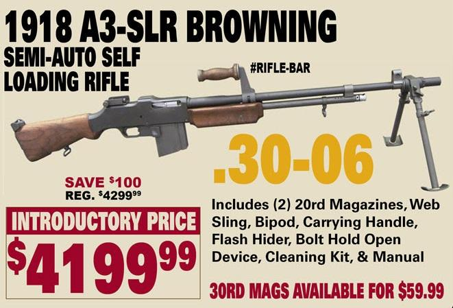1918 a3 slr browning 30 06 semi auto self loading rifle rifle bar