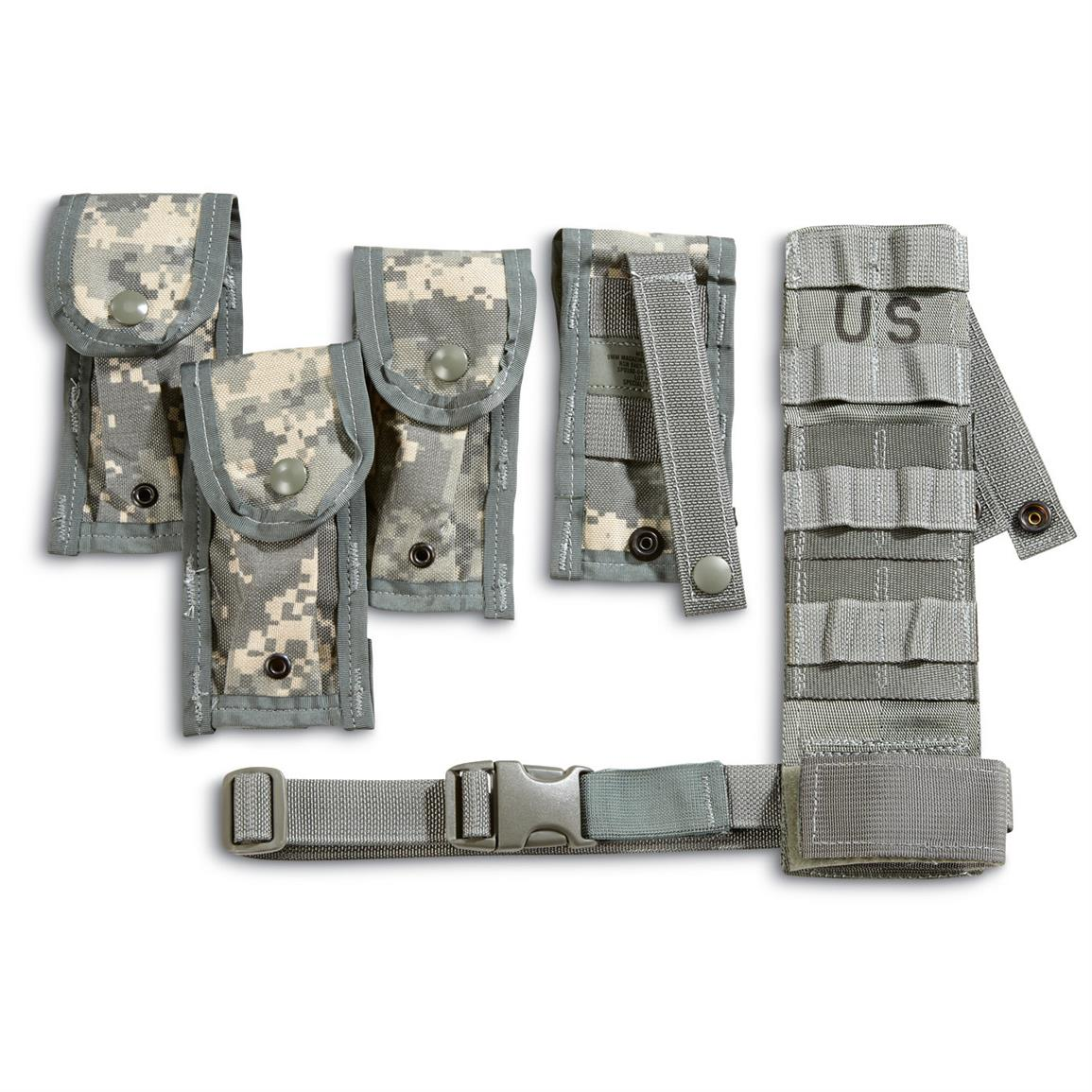 U S  Military Surplus 9mm Magazine Pouches with Holster Leg Extender, 4  Pack, New - $12 59