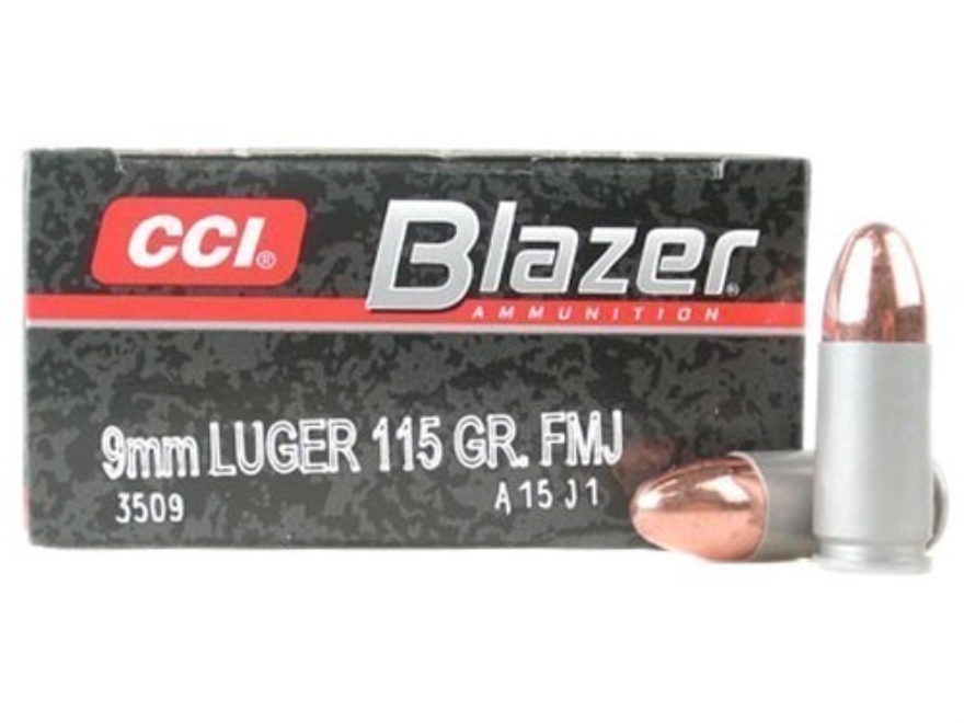 cci blazer ammunition 9mm luger 115 grain full metal jacket box of