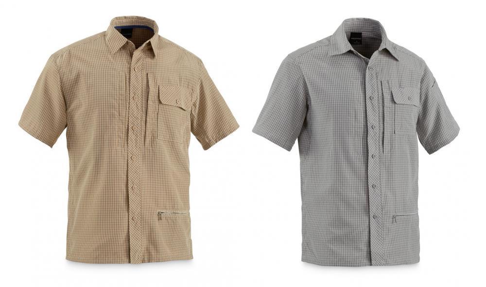 Propper men 39 s covert button up shirt gray khaki for Khaki button up shirt