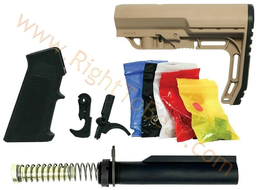 Tactical Superiority Lower Parts Build Kit - Flat Dark Earth Mission First  Minimalist Stock - $89 99