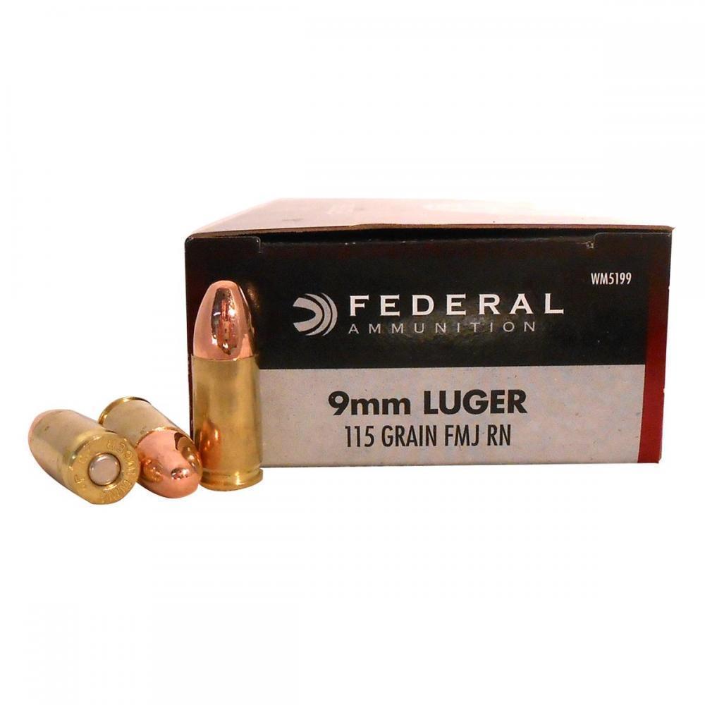 Federal 9mm 115gr FMJ Champion Ammunition 50rds - WM5199