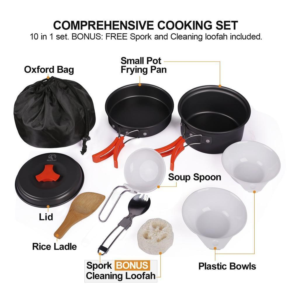 66380f6ec1a REDCAMP Outdoor Camping Cookware Mess Kit10 Pieces Lightweight   Compact  Non-stick Anodized Aluminum -  10.99 + FS over  25 (Free S H over  25)