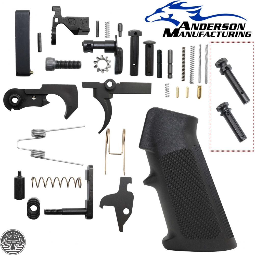 AR-15 ANDERSON MANUFACTURING Lower Parts Kit W/ Extended Grip Pivot and  Takedown Pin - $44 99