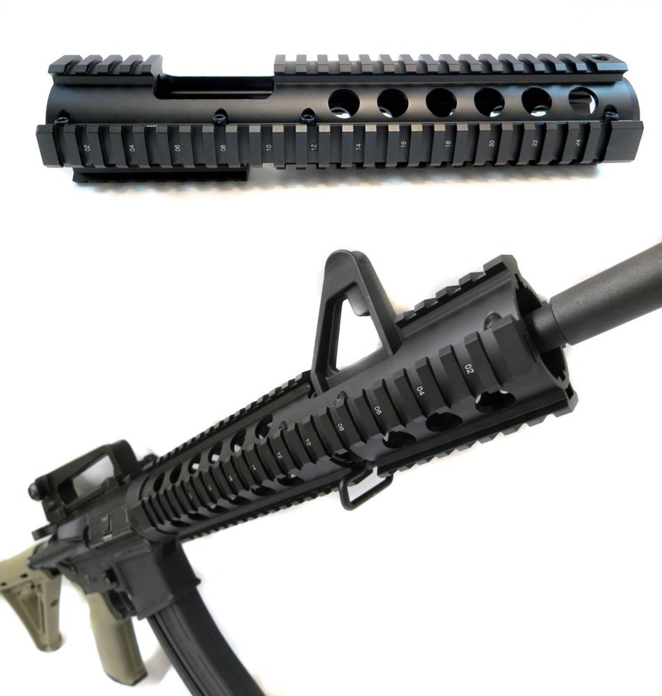 AR-15 Extended Carbine Length Drop-in Quad Rail With Front