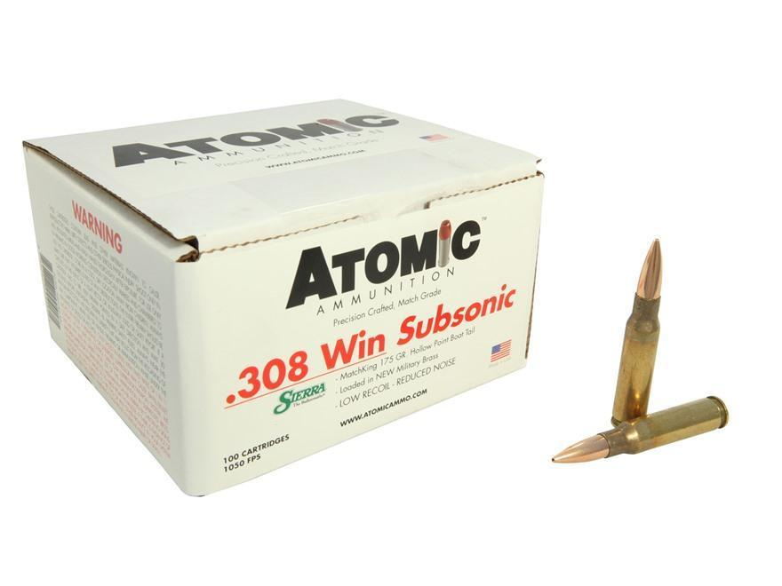 100 ROUNDS - Atomic 308 Winchester 175 Grain SMK HPBT (SUBSONIC) *COSMETIC  BLEMS* - $144 99 (Free 2-Day S/H over $50)
