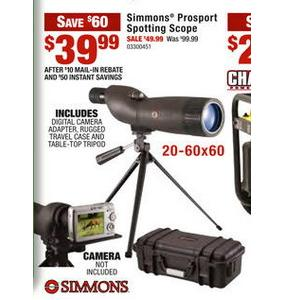 simmons 20 60x60. simmons prosports spotting scope doorbuster sale friday nov-25th only- $39.99 after mir cabelas in-store (free s/h no minimum w/code \ 20 60x60