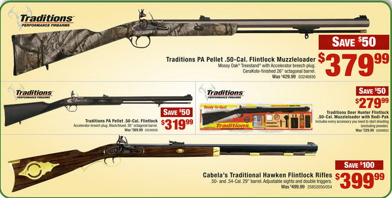 Tradition Muzzleloaders Doorbuster Sale Nov 25-30th Only as low as -  $279 99 Cabelas in-store (Free 2-Day Shipping over $50)