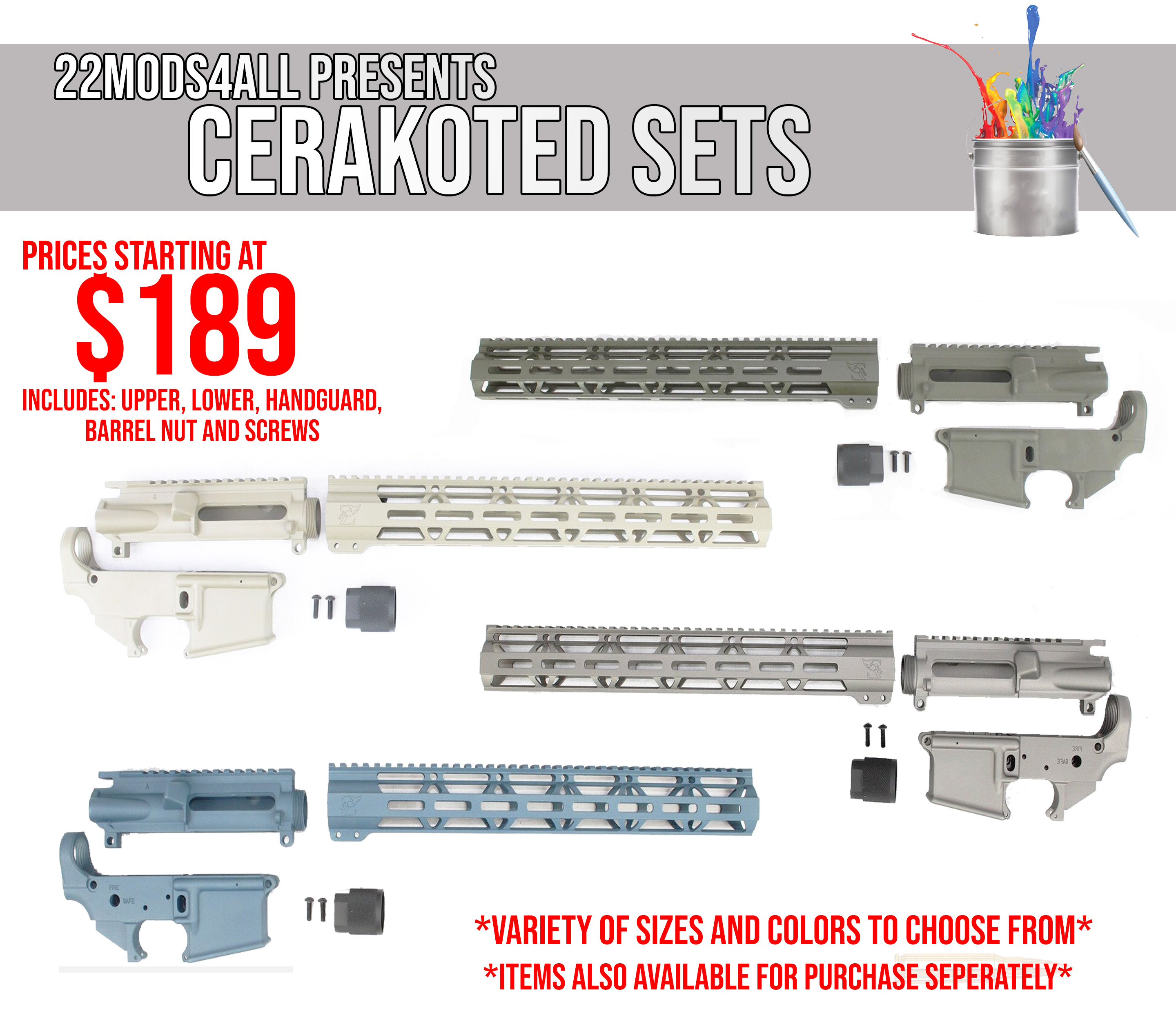 22mods4all Cerakote Sets! Looking for your favorite color for your next AR  frame? Check these sets out now! - $189