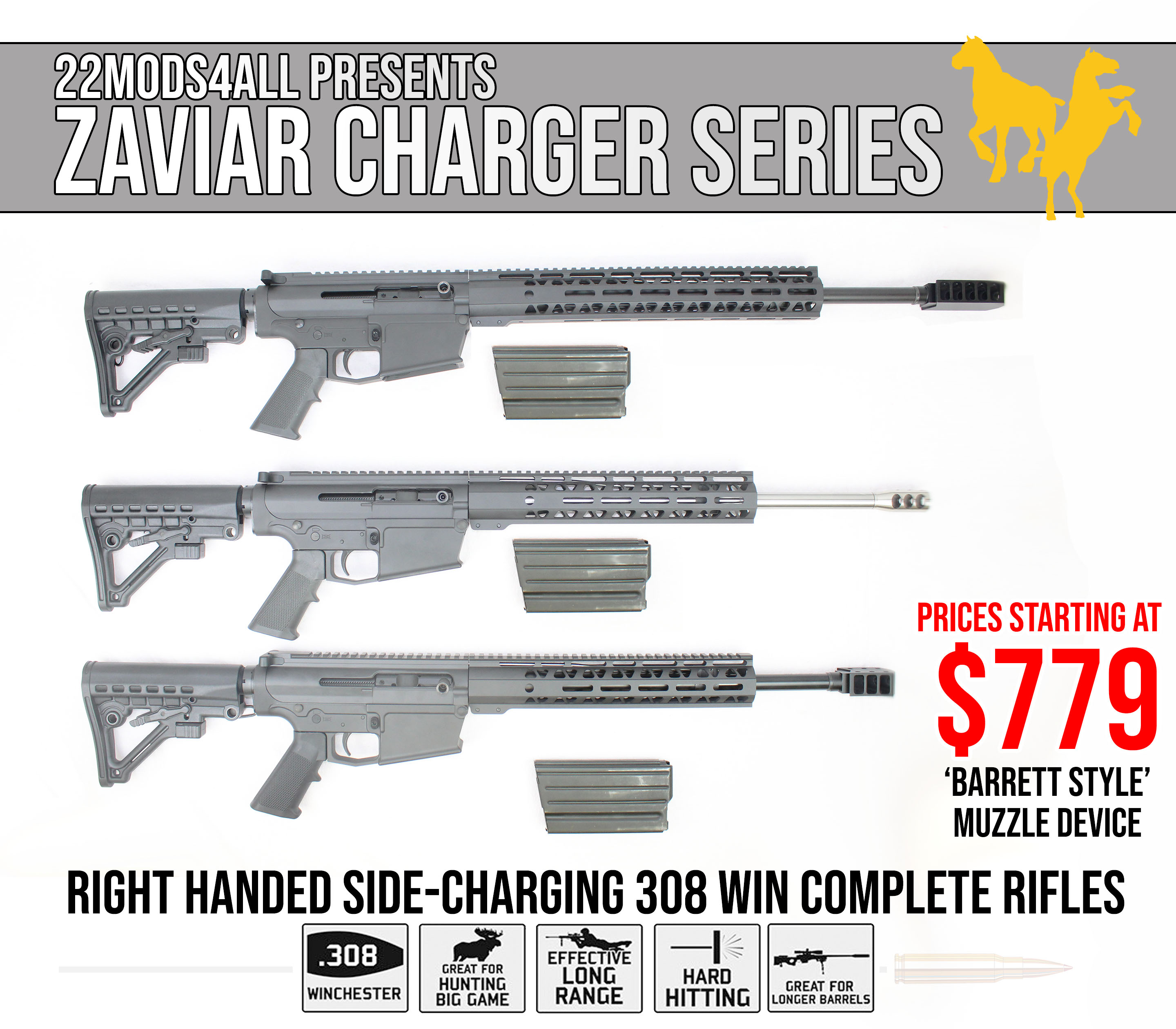 AR-10 Custom Side-Charging  308 WIN 'Charger Series' Complete Rifle  w/Barrett Style Muzzle Compensator - $779
