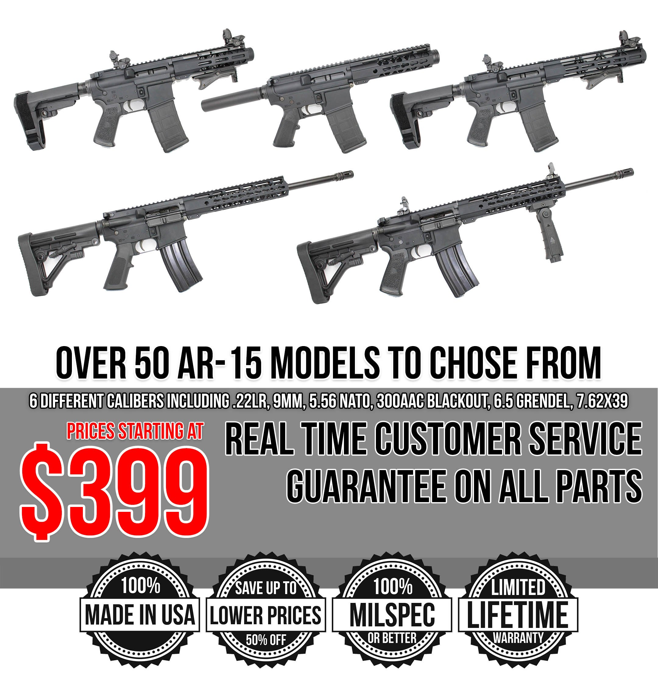 Complete AR15+MAG Starting @ $399! Wide Selection, Customizable, Flat Rate  $8 95 Shipping, Full Warranty!