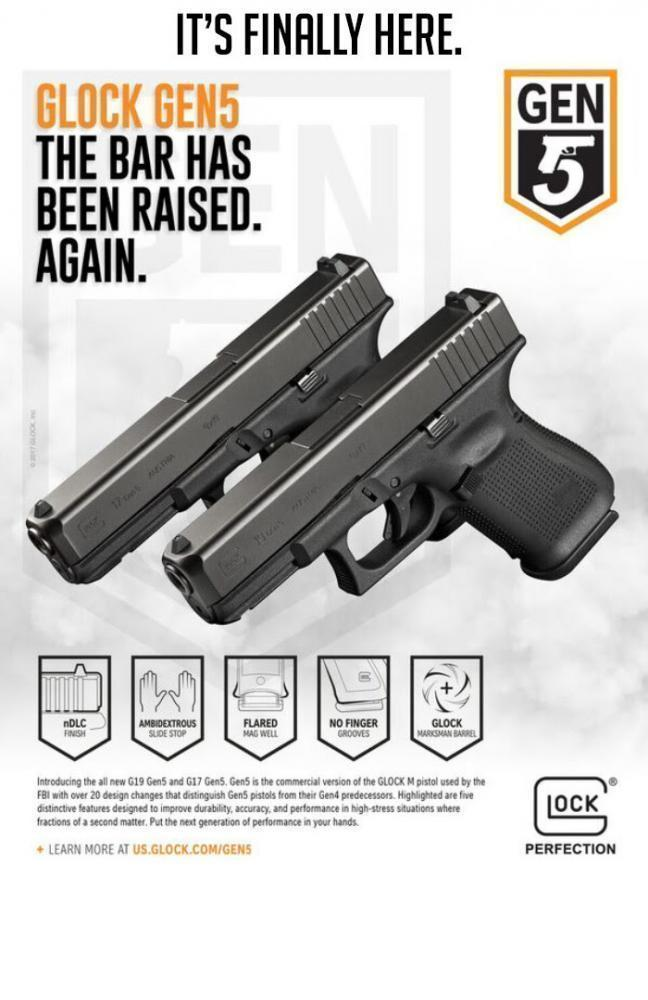 Glock 19 5TH GEN Black 9mm 4 02-inch 15Rd Fixed Sights 3 Mags - $559 99  after code