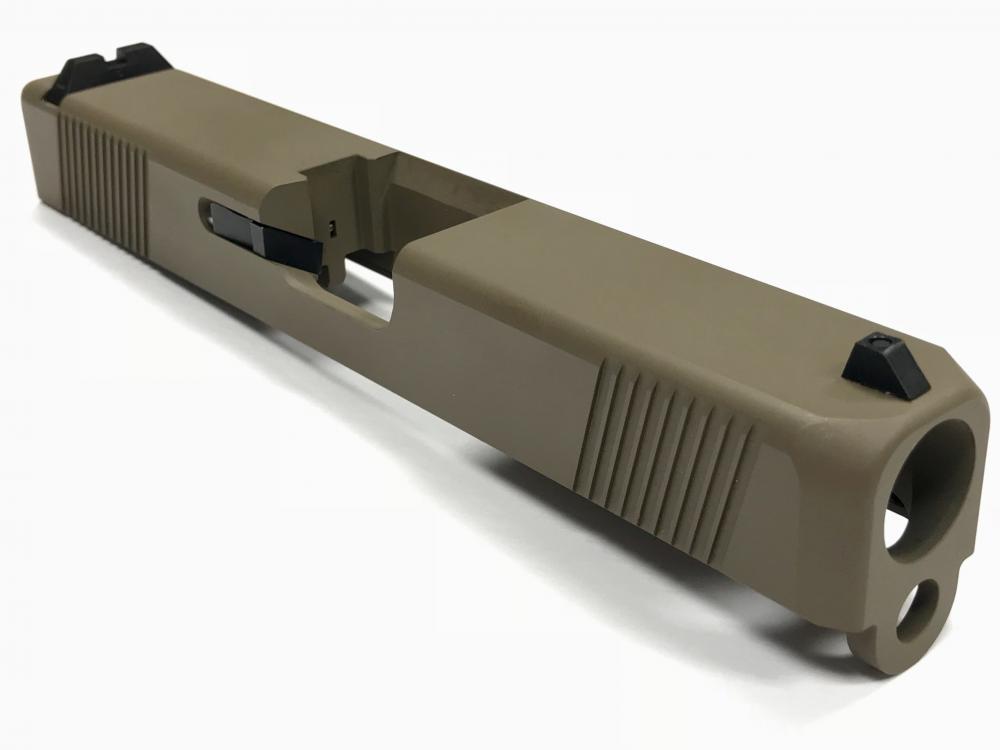 Built upper for Glock 19 Pistol, upper build kit, sights, cerakote FDE  slide, no barrel - $330