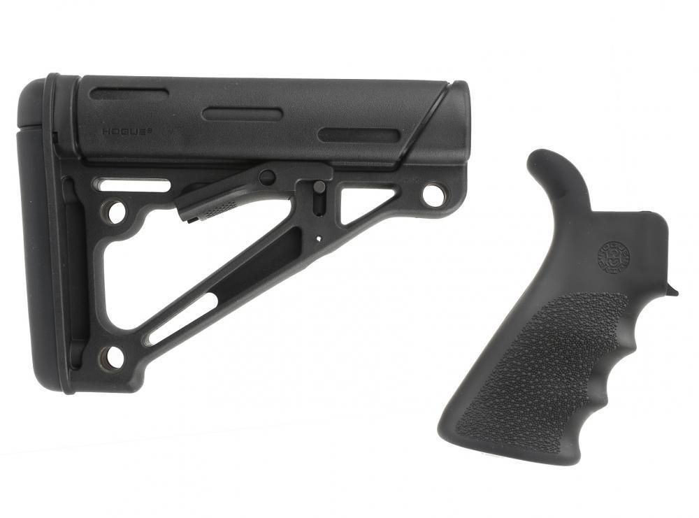 Hogue Mil-Spec OverMolded Collapsible Buttstock - Black with Hogue AR-15  OverMolded Pistol Grip - Beaver Tail - Finger - $49 99
