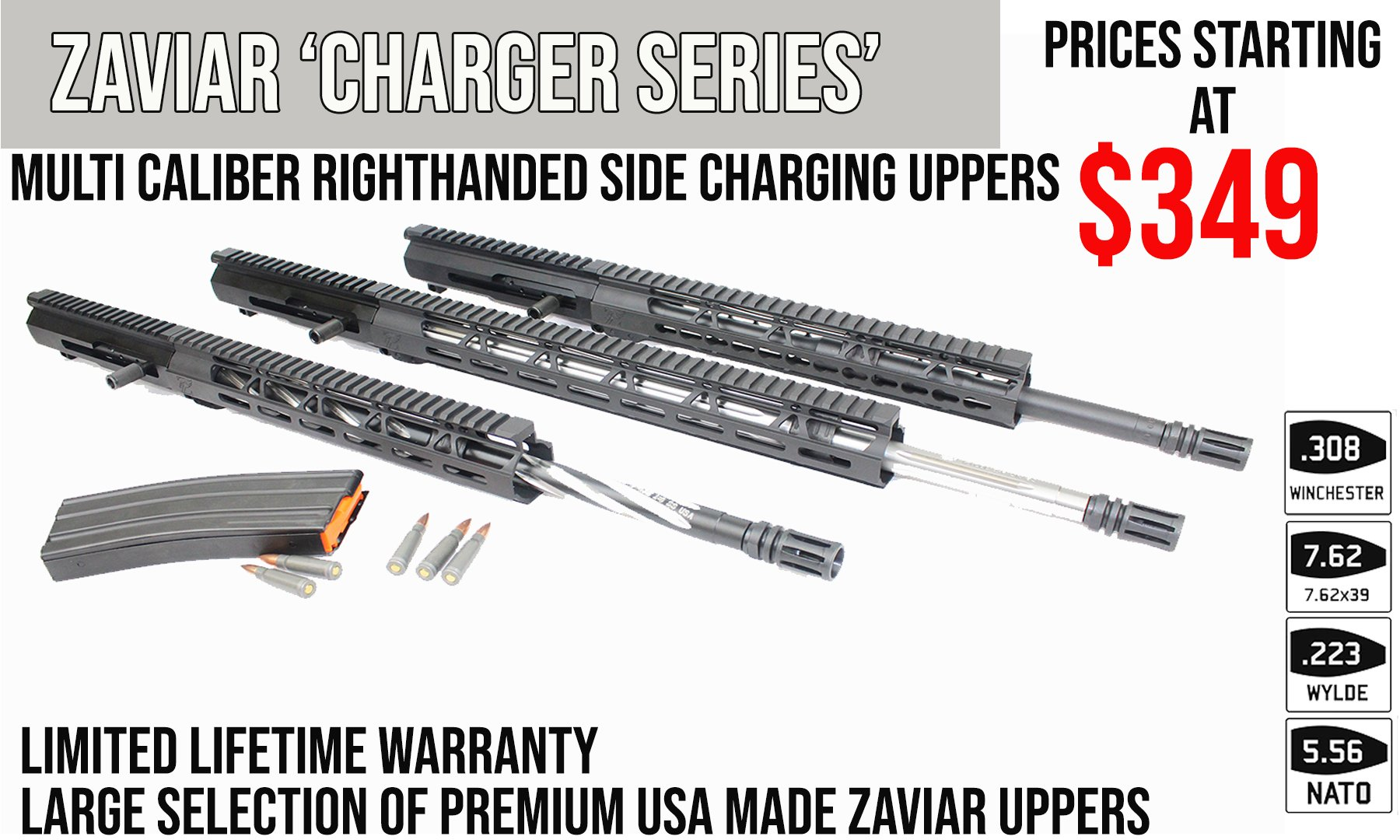 22mods4all Multi-Caliber Right Handed Side Charging Upper Receivers  Starting at - $349