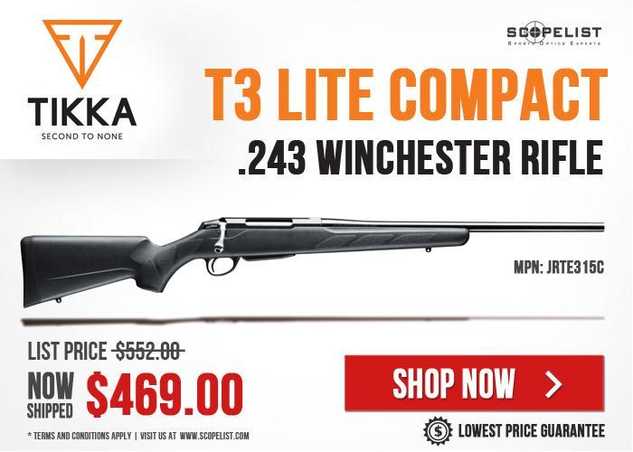 Tikka T3 Lite Compact  243 Winchester Rifle JRTE315C For Sale At An  Attractive Price - Save $83 - $469