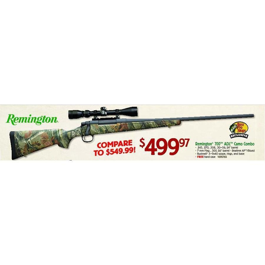 Remington 700 ADL Camo Combo - $499 97 (Valid on Black Friday 2013 in-store  only) (Free S/H over $50)