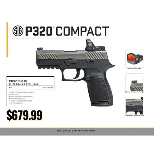 Sig P320 9mm With Romeo 1 Optic, Dawson Blade FS, Nickel PVD Slide With  Lightning Cuts - $679 99 (Free S/H on Firearms)