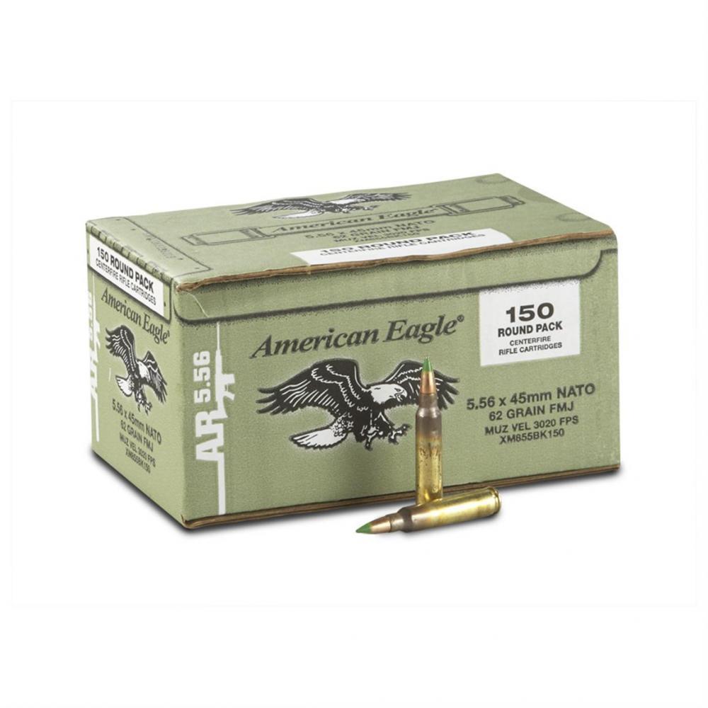 American Eagle XM855 .223/5.56 62 gr Green Tip FMJ 150 Rnds - $47.49 ...
