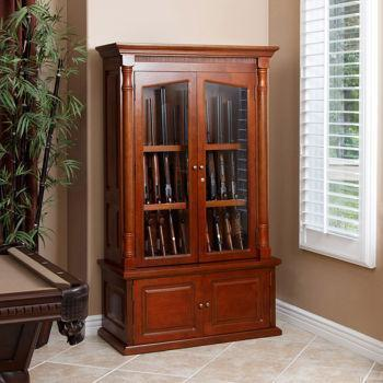 Valencia 12 Gun Wood Display Cabinet   $500