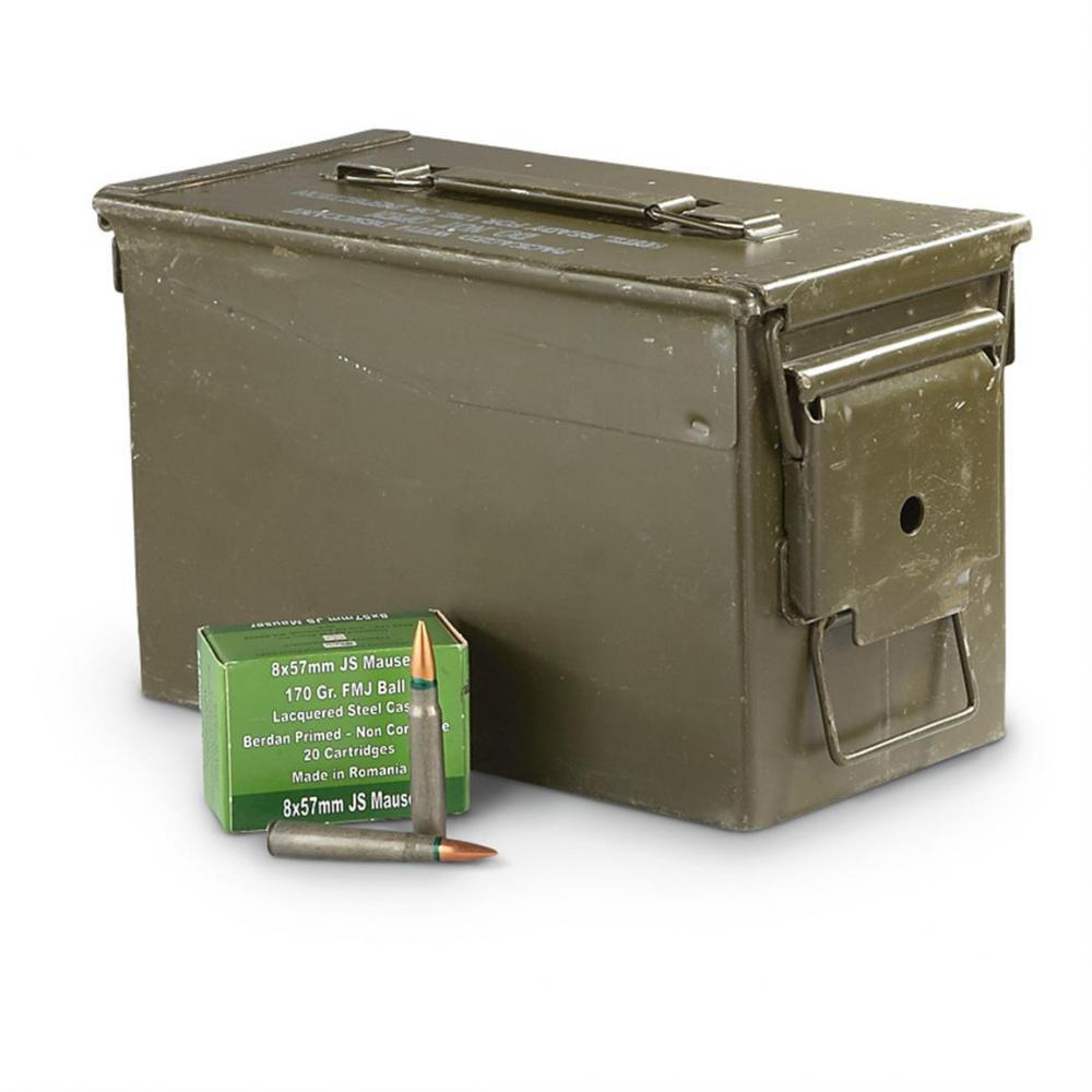 200 rounds of 8x57mm JS Mauser FMJ Ammo with Can - $89 99