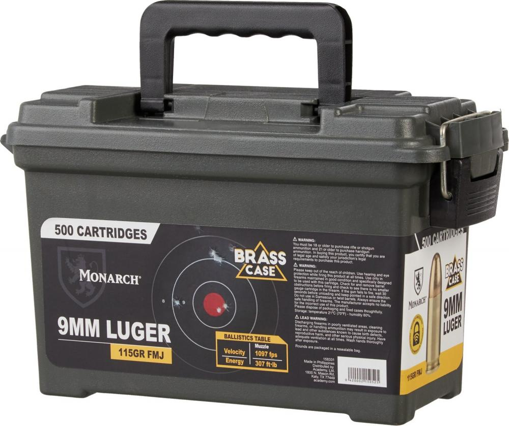 Monarch 9mm Luger 115-Grain FMJ Ammo Can Combo 500 rounds - $84 99 (Free  S/H over $25)