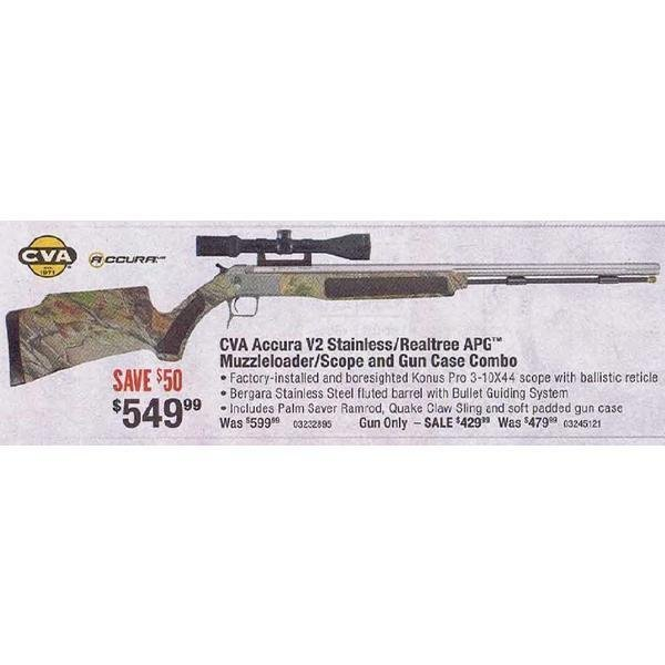 CVA Accura V2 Muzzleloader/Scope/Case Combo – Stainless/Realtree APG -  $499 88 (Free 2-Day S/H over $50)