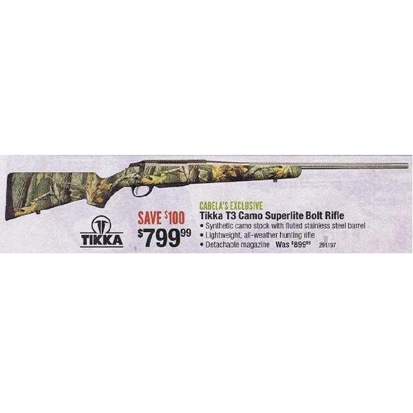 Tikka T3 Camo Superlite Bolt Rifle - $799 99 (Valid on Black Friday  in-store only) (Free 2-Day Shipping over $50)