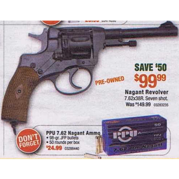 PRE-OWNED Nagant Revolver 7 62x38R 7 Rnds - $99 99 Cabela's Black Friday  2012 (Free 2-Day Shipping over $50)
