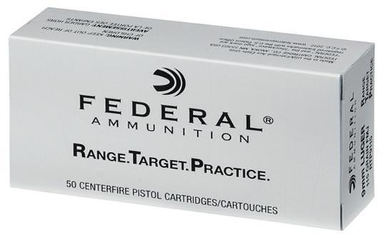 Federal 9MM Range and Target Handgun Ammo 115 Grain FMJ, 50