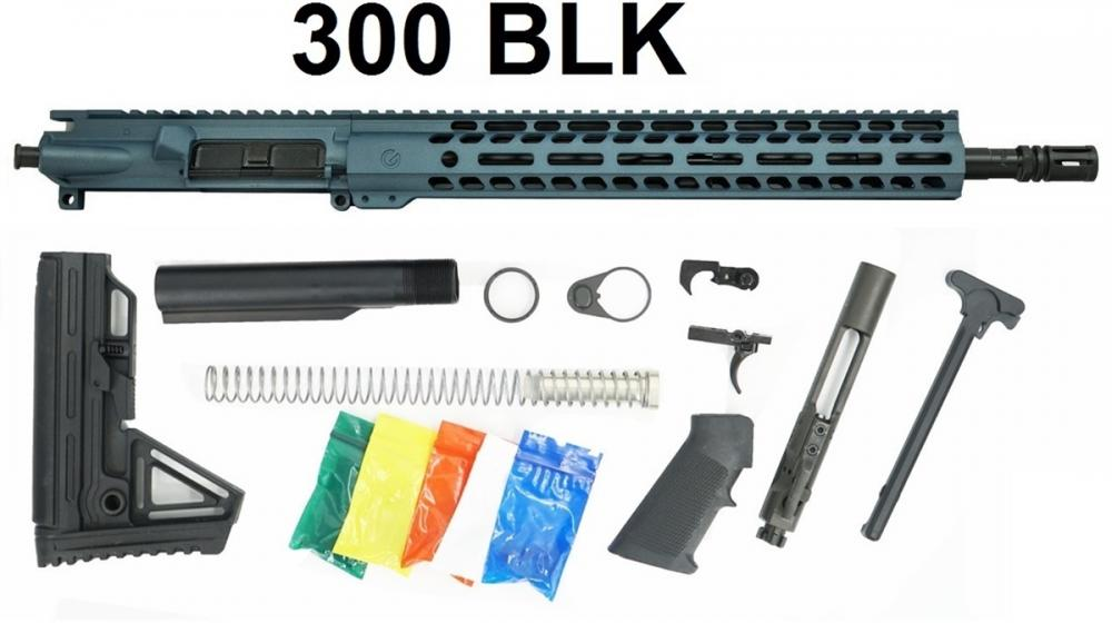 Ghost 16 Inch 300 Blackout Rifle Build Kit in Blue Titanium 14