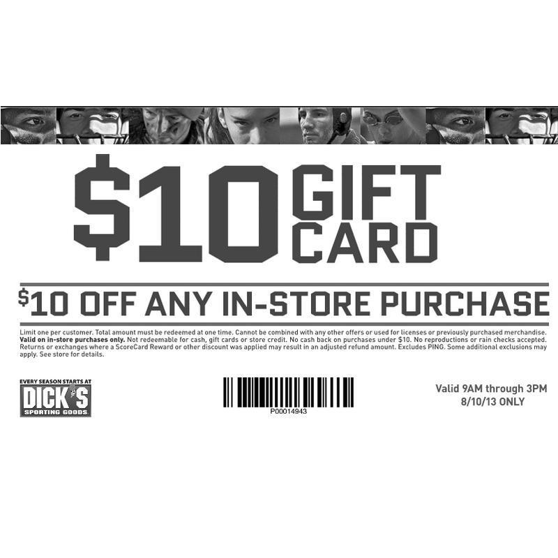 FREE $10 Dick's Sporting Goods Gift Card for In-Store Purchases ...