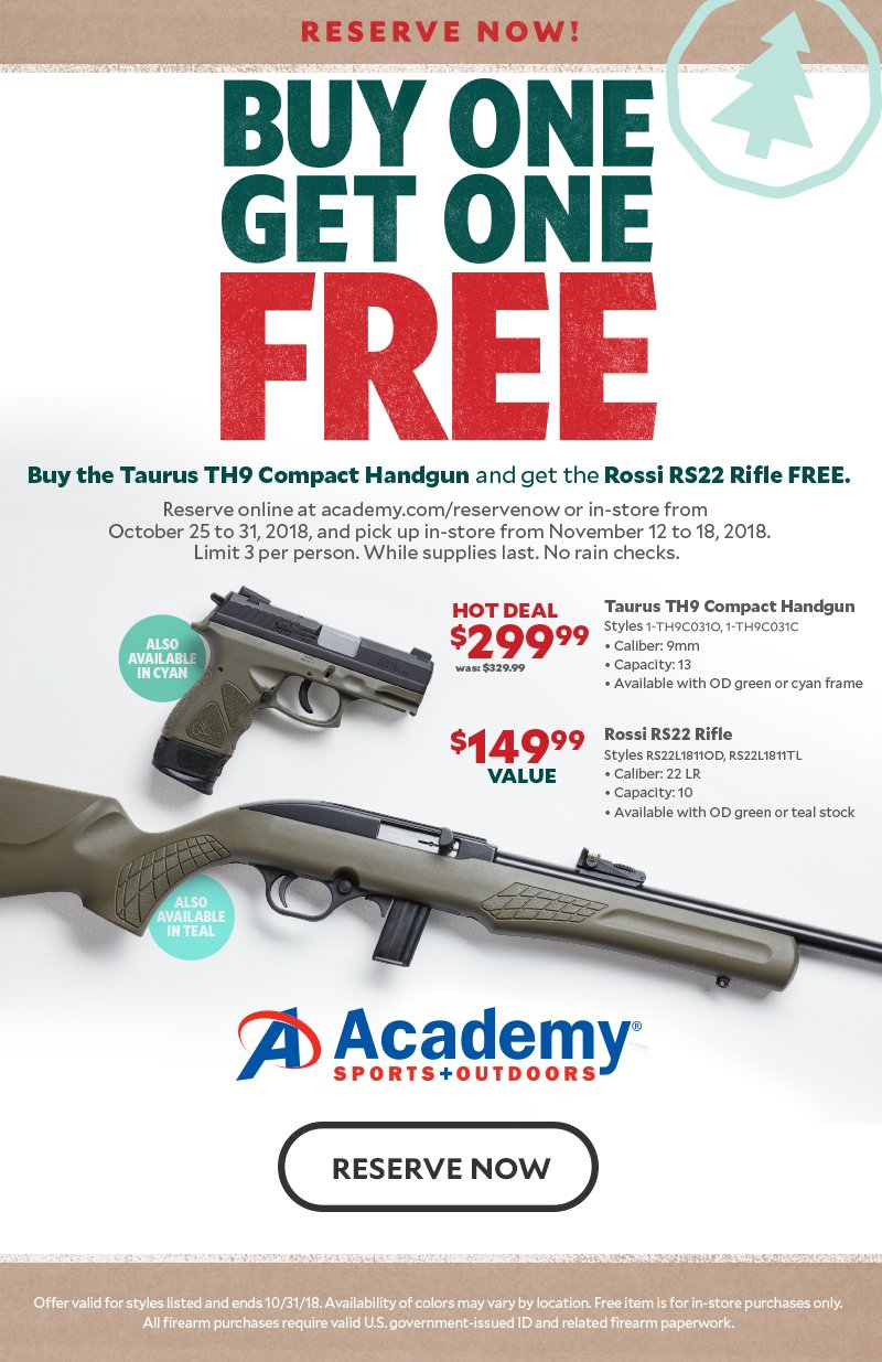 BOGOF - Buy The Taurus TH9 Compact Handgun And Get The Rossi RS22 Rifle  Free - $299 99