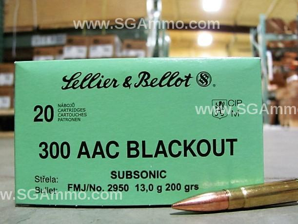 20 round box - 300 AAC Blackout 200 Grain SUBSONIC FMJ Ammo by Sellier  Bellot - SB300BLKSUBA - $10 25