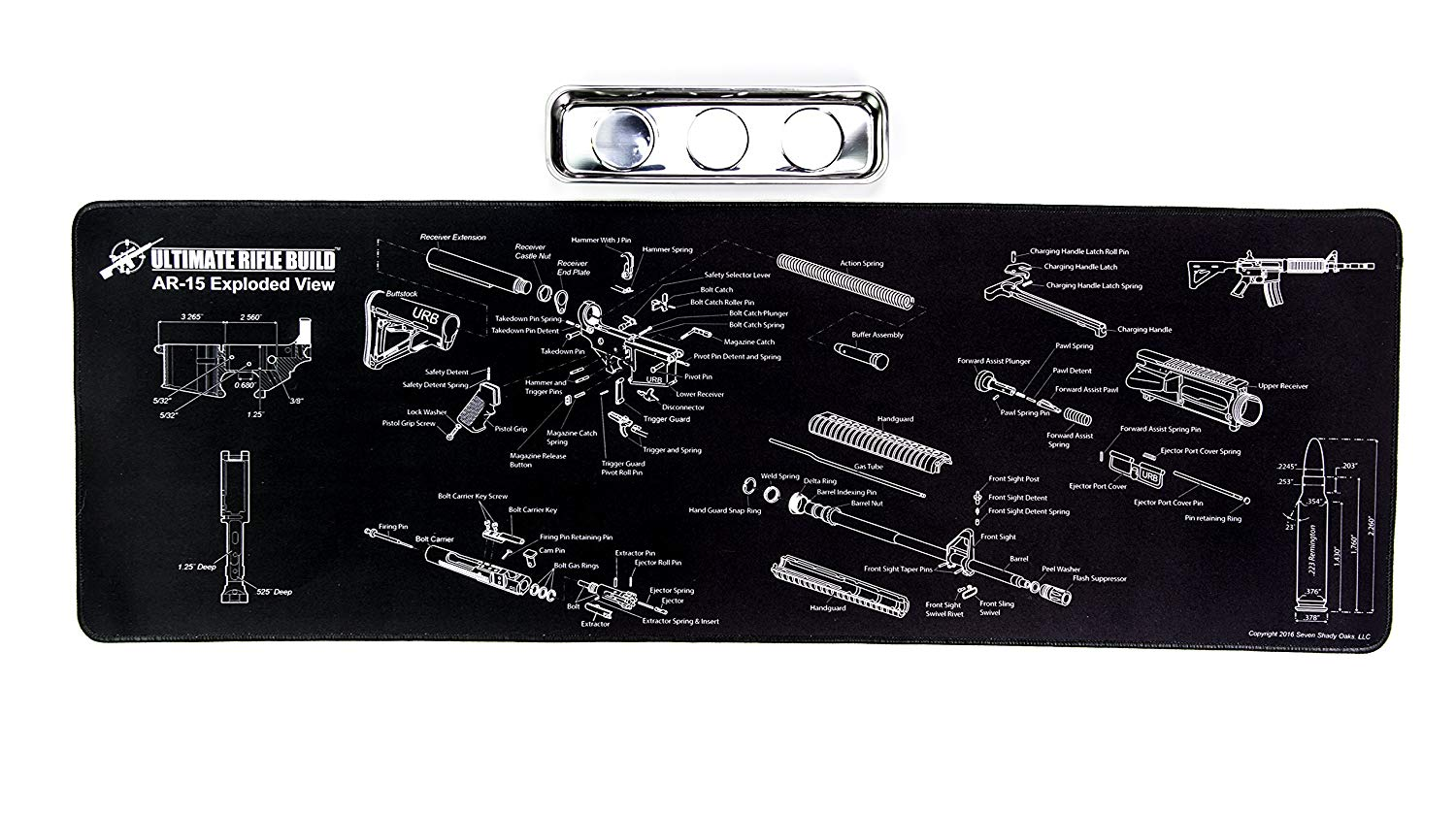 AR15 Gun Cleaning Mat with Exploded Parts Diagram & BONUS Magnetic Handgun Parts Diagram on