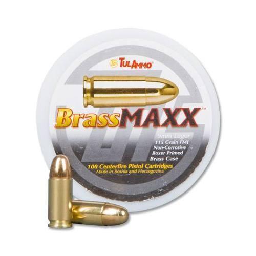 9mm TulAmmo BrassMAXX 115 Grain FMJ 100 rounds BRASS - $26