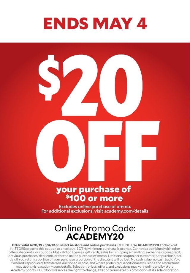 picture about Academy Sports Coupons $10 Off Printable titled $20 Off $100 With Code \