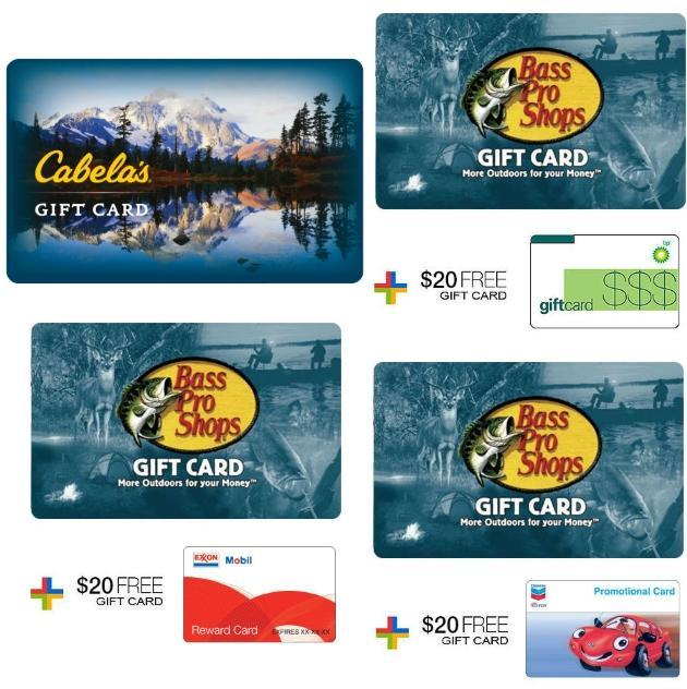 $100 bass pro gift card + free $20 gift card - $50 cabela's gift ...