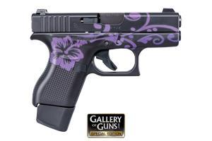 Glock 42 Black & Bright Purple Floral Pattern 380 ACG-00806