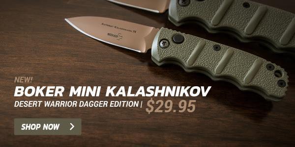 Boker Mini Kalashnikov Desert Warrior Automatic Knife Dagger (2 5