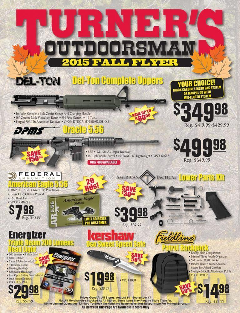 Turner'S Outdoorsman 2015 Fall Flyer | Slickguns | Gun.Deals