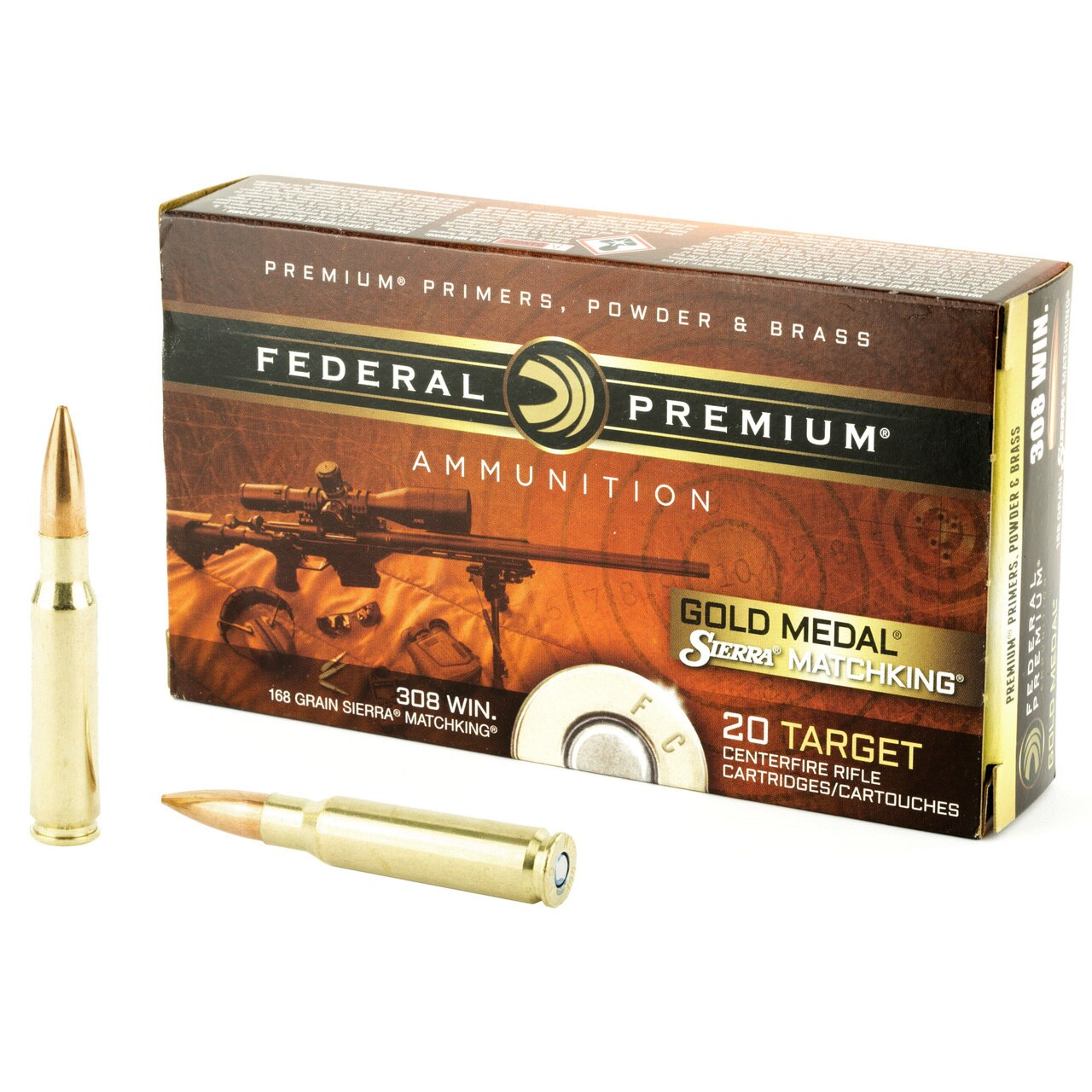 Federal Gold Medal Match, 308 Winchester, 168 Grain, Boat Tail, Hollow  Point  20 Round Box - $15 94
