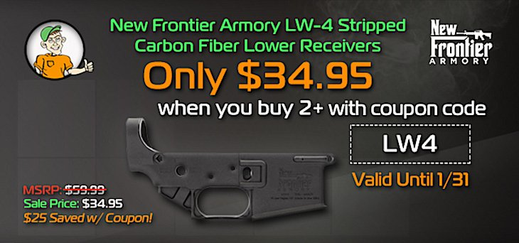 New Frontier Armory LW-4 AR15 Stripped Carbon Fiber Lower Receiver -  $34 95ea When you buy (2) w/Code