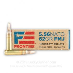 5.56x45 - 62 Grain FMJ - Hornady Frontier - 500 Rounds 000018843001